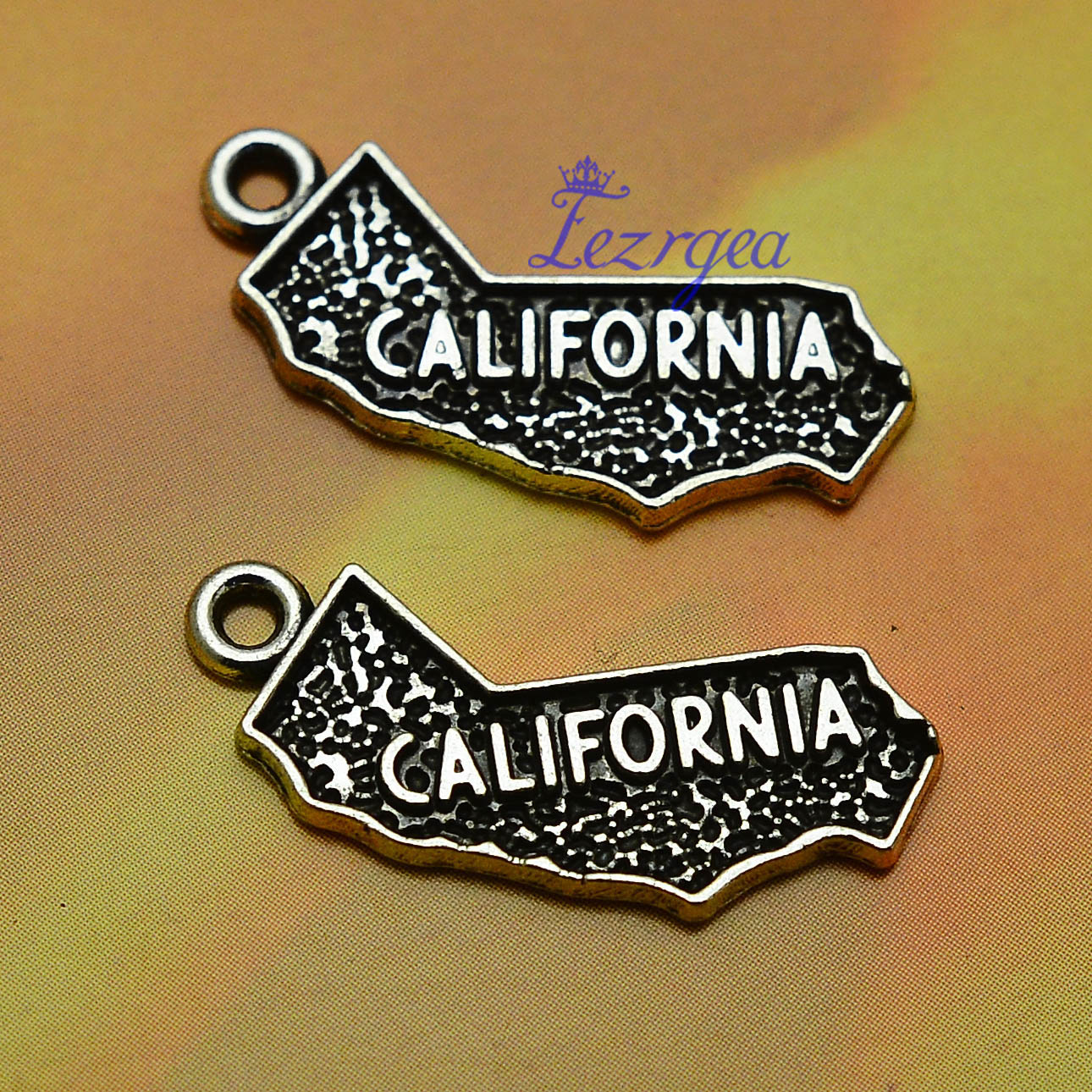 20pcs/lot--25x9mm, Antique silver plated California map state shape charms,DIY supplies,Jewelry accessories(China)