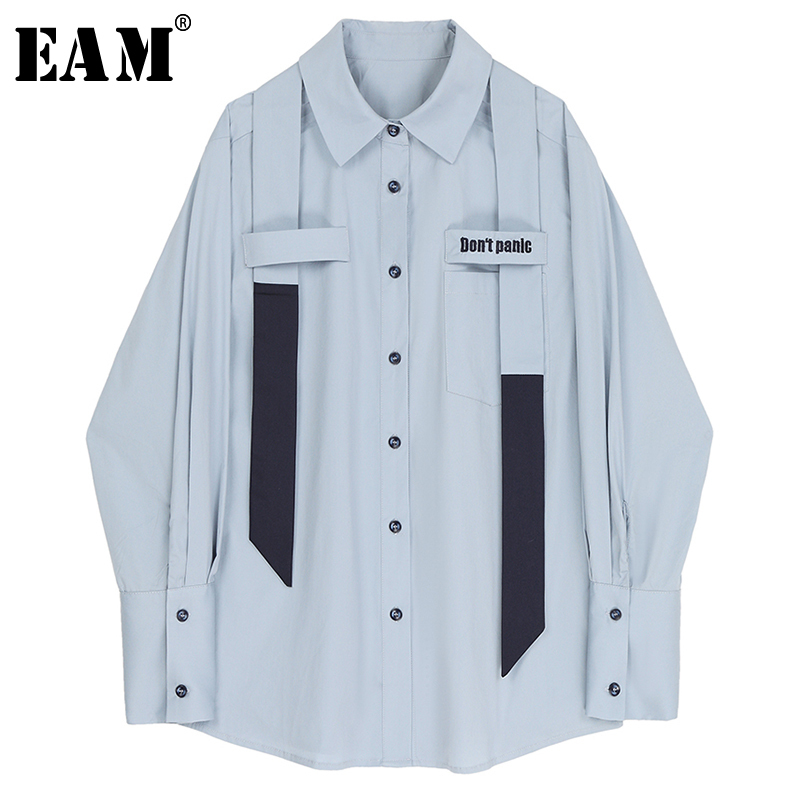 [EAM] Women Blue Ribbon Split Big Size Blouse New Lapel Long Sleeve Loose Fit Shirt Fashion Tide Spring Autumn 2020 1R705