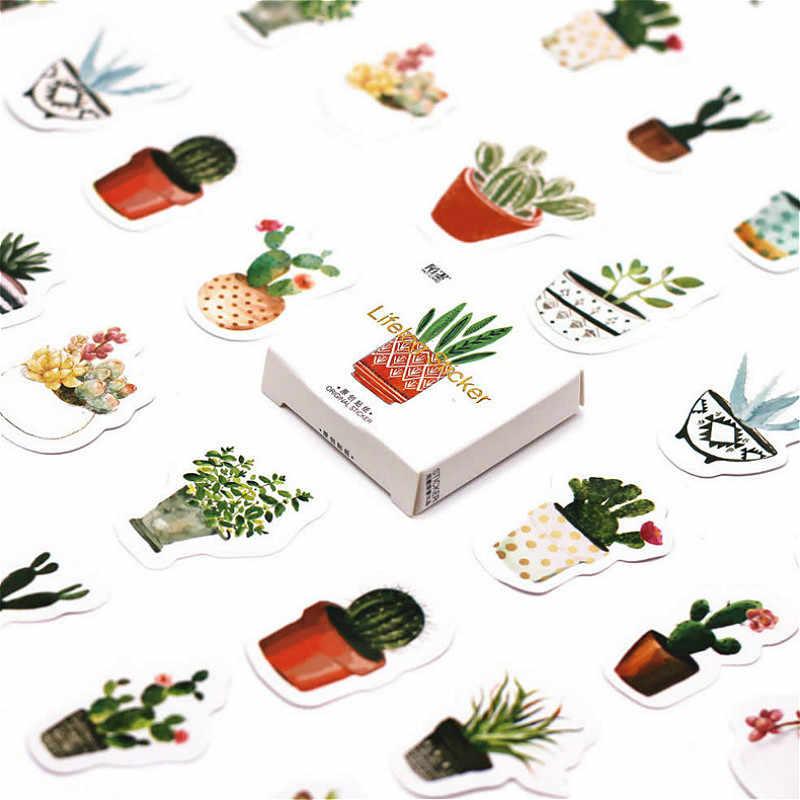 40 sztuk/pudło Kawaiii doniczkowe kaktus zielone rośliny naklejki ścienne naklejki na pokoje dla dzieci chłopcy dziewczęta dzieci dekoracje do wnętrz do sypialni