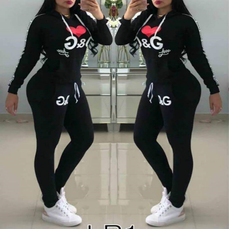 Autumn Winter Fashion Tracksuit Women Letter Print Pullover Coat with Hood Two Pieces Set Hoodies Casual Trousers Suit Sweatsuit|Women's Sets| - AliExpress