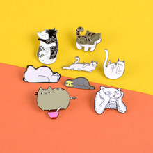Cute animal enamel pins Lazy enchanting cat thinker tiger brooch Suspected life bear Lapel pin badge Sleeping sloth jewelry gift(China)