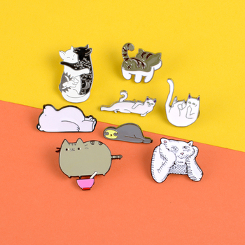 Cute animal enamel pins Lazy enchanting cat thinker tiger brooch Suspected life bear Lapel pin badge Sleeping sloth jewelry gift image