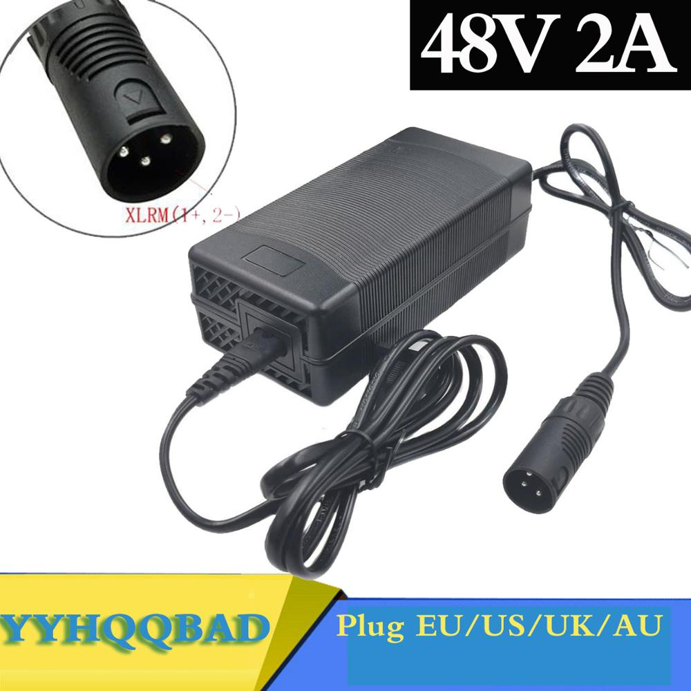 48V 2A Lead-acid Battery Charger for 57 6V Lead acid Battery Electric Bicycle Bike Scooters Motorcycle Charger 3-Pin XLR Plug