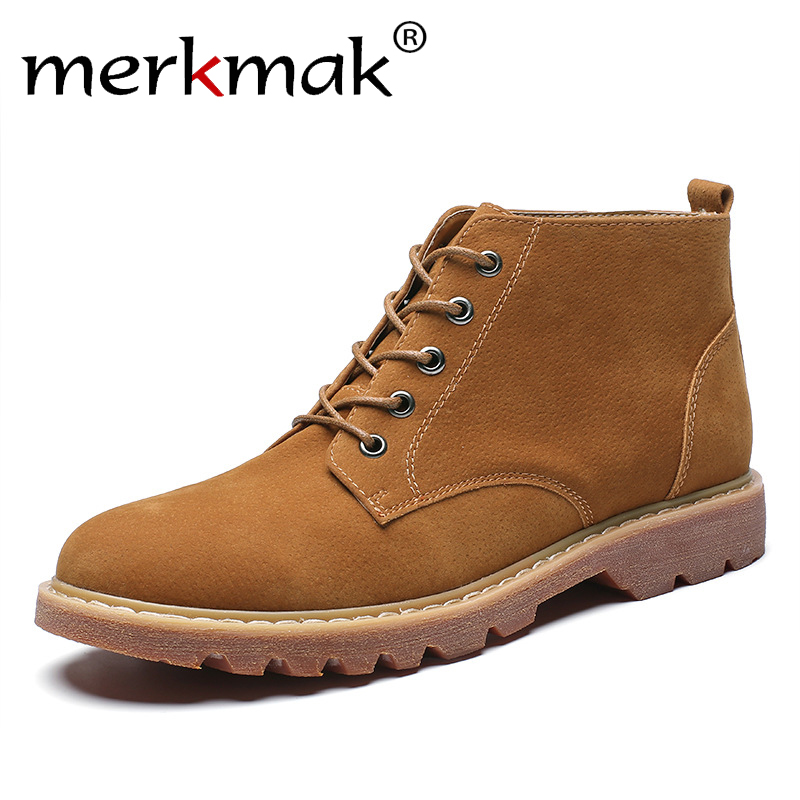 Flats Work-Boots Ankle-Shoes Men's Casual Fashion Male Brand Wedding Party Mermak Luxurious
