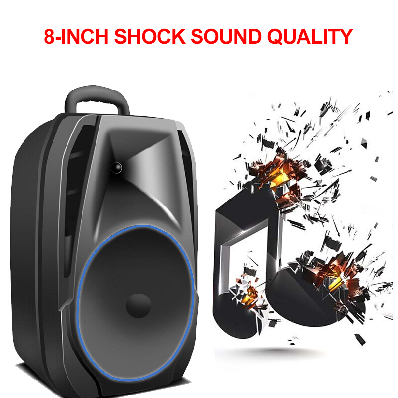 Big Speaker Outdoor Bluetooth Wireless Portable Remote Garden Picnic Party Microphone Clock LED Display FM Radio Subwoofer - 5