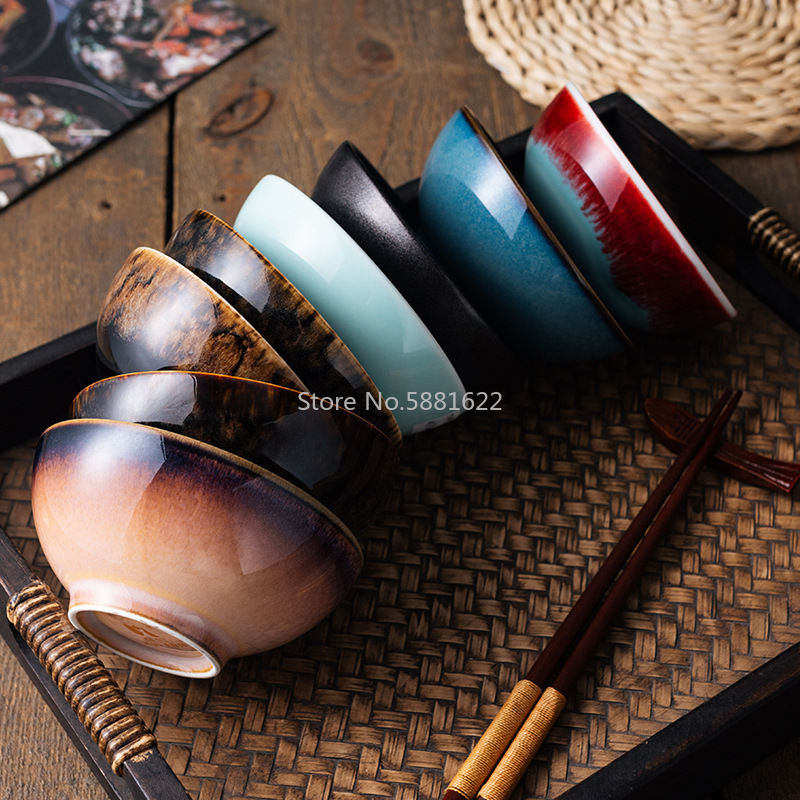 Japanese-style Ceramic Tableware Rice Bowl Soup Bowl 4.5-inch Kiln Variable Tongue-and-groove Bowl Food Household