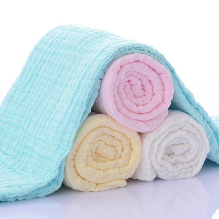 6 Layers Muslin Swaddle Baby Blankets Newborn Cotton Baby Blanket Bath Quilt Solid Newborn Swaddle Baby Boy Girl Blanket