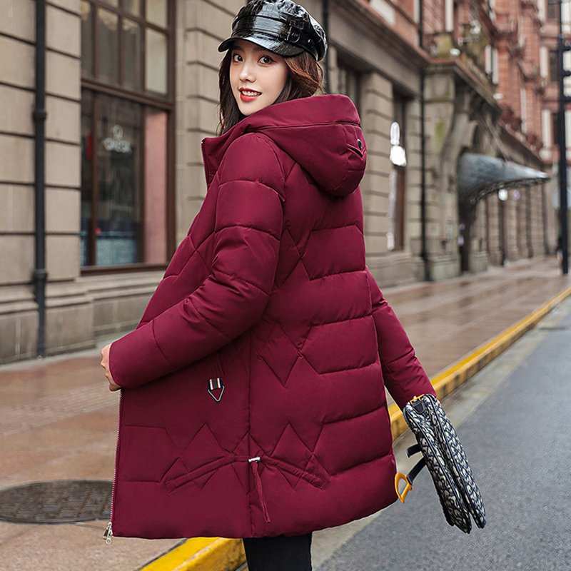 2020 New style women winter hooded warm coat candy color wadded jaqueta feminina coat cotton padded jacket female long parka