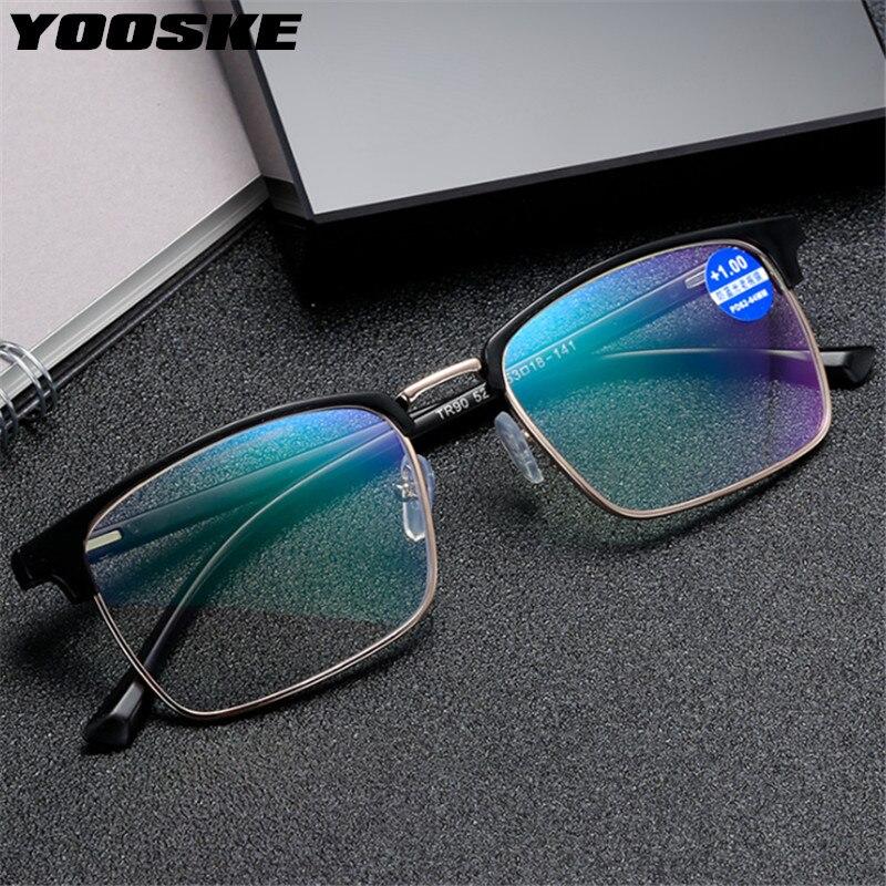 YOOSKE erkekler TR90 iş okuma gözlüğü mavi ışık engelleme hipermetrop gözlük yarım çerçeve presbiyopi ile Diopters artı 1.5 2.5