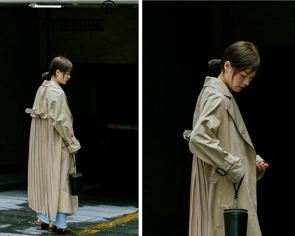 japaness Vintage Double Breasted   Trench   Coat streetwear ladies Pleated chiffon patchwork Windbreaker Outwear