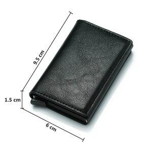 Image 4 - Männer der Kreditkarte Halter Foto Gravur Anti RFID Blocking PU Kleine Brieftasche ID Karte Fall Metall Schutz Geldbörse Portomonee