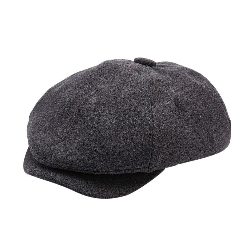 Мужская саржевая хлопковая восьмипанельная шляпа женские Бейкер кепки для мальчиков ретро большие шляпы мужские черные берет газетчика кепки - Цвет: dark grey