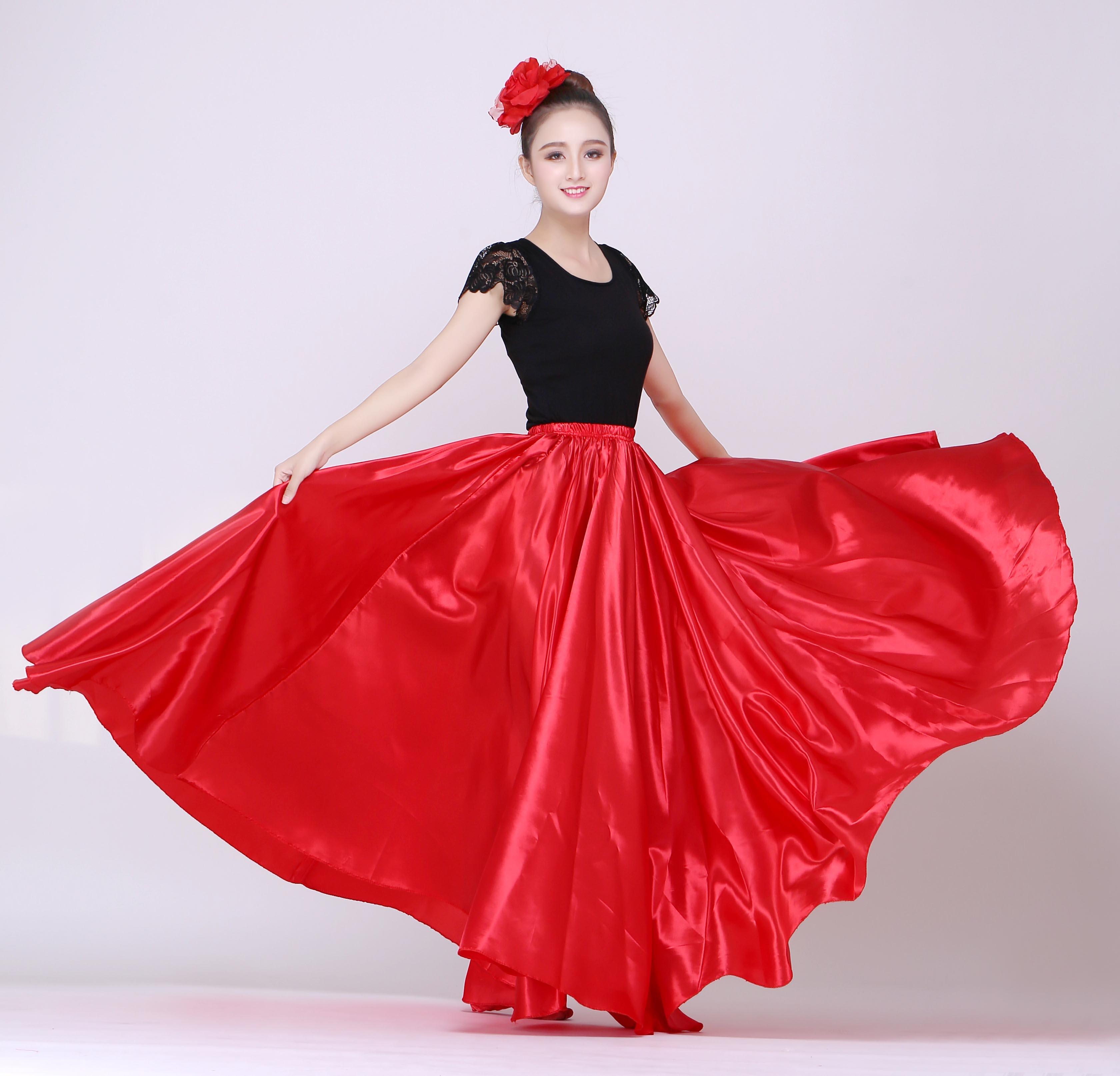 Spanish Stage Wear Dance Performance Flamenco Long Skirt Style Women Costumes Satin High Quality Ballroom Dance Dress Skirt