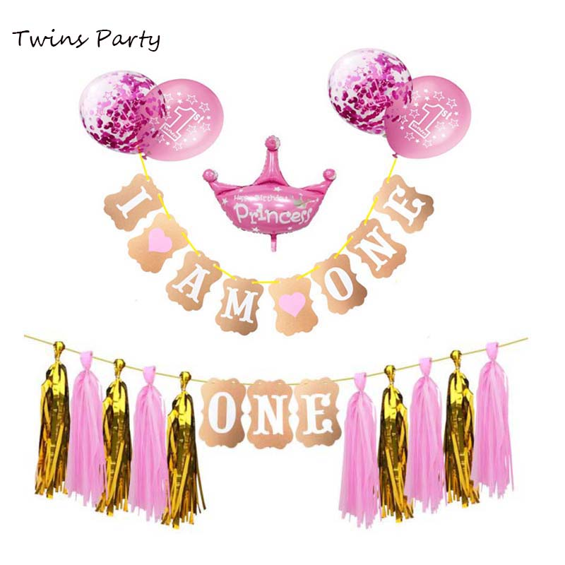 TWIN GIRLS 'WE ARE TWO' BIRTHDAY PARTY BUNTING PINK AND GOLD