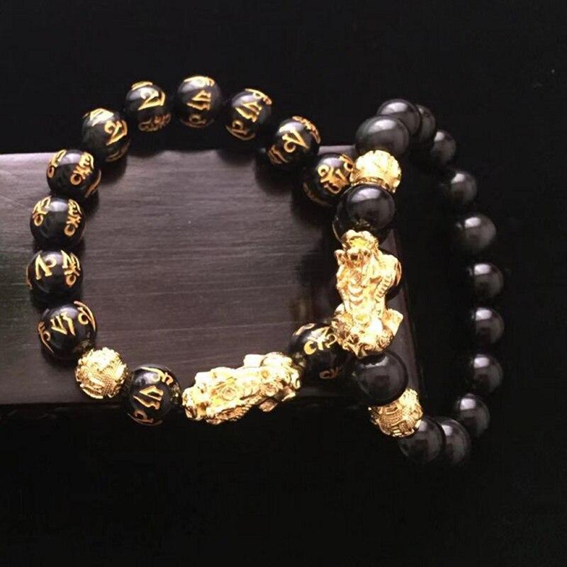 Feng Shui Gift Obsidian Alloy Bracelet for man and women Attract Wealth Good Luck steel man bracelets