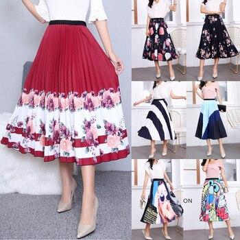 elastic waist scallop hem textured skirt 2020 New Fashion Skirt Women Elastic Waist Pleated Skirt Printed Cartoon Large Hem A-Line Skirt