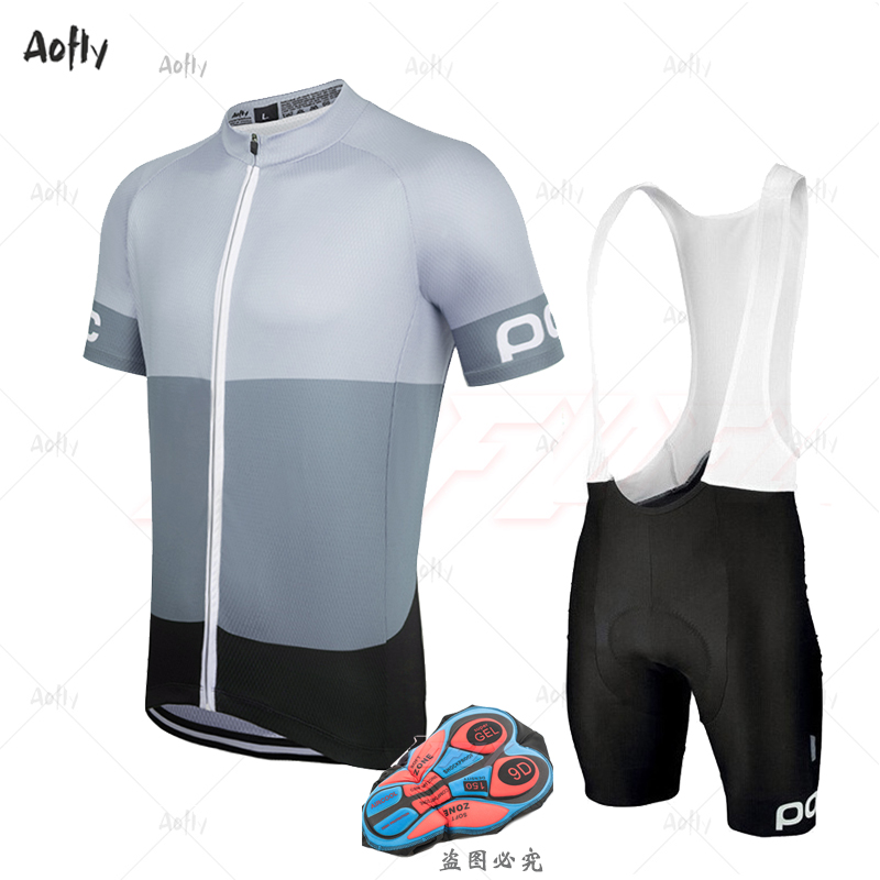 Aofly New Gray Short Cycling Jersey Set Men 2020 Bike Clothing 9D Gel Black Breathable Bib Shorts Summer Le Col Roupas Ciclosmo