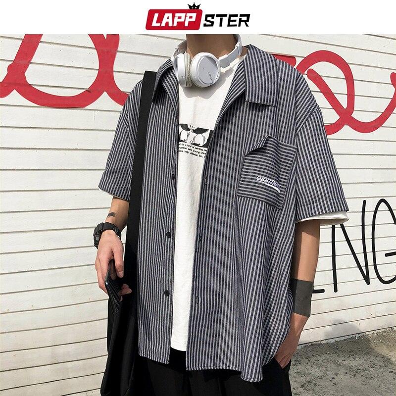 LAPPSTER Men Striped Harajuku Korean Shirts Half Sleeve 2020 Summer Mens Harajuku INS Shirt Male Broken Pocket Button Up Shirt