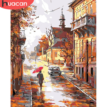 HUACAN Paint By Number City Landscape HandPainted Kits Drawing Canvas Coloring Pictures Oil Painting Autumn Home Decoration