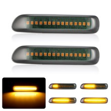 2x تدفق بدوره مصباح إشارة ديناميكية LED الجانب ماركر ضوء 12 فولت الجانب مكرر مصباح لسيارات BMW E46 3er ليمو كوبيه المدمجة Cabriolet