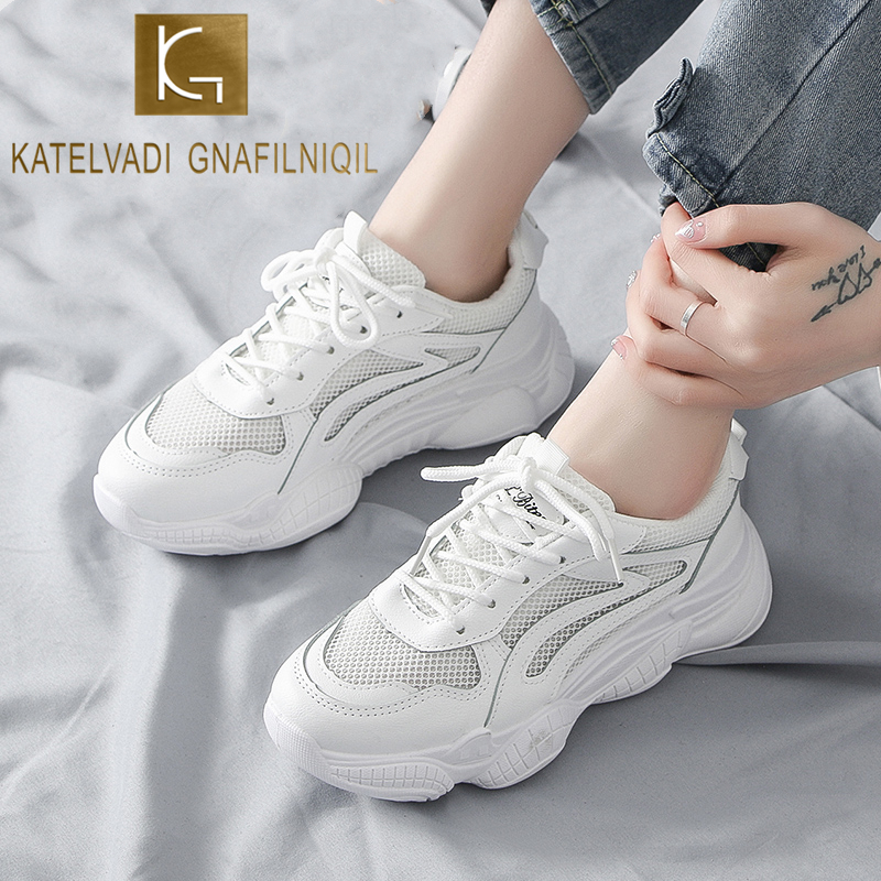 KATELVADI Women Clunky Sneakers 2020 Fashion Casual Shoes Woman Comfortable Breathable White Female Platform Sneakers FL017