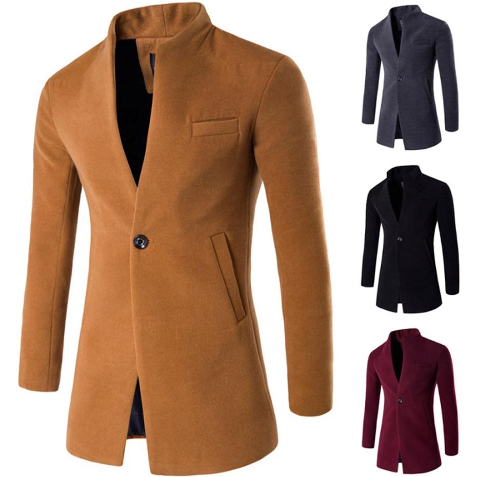 ZOGAA 2019 Wool Coat Men Winter Long Coat Slim Cardigan Windbreaker One Button Mandarin Collar Casual Woolen Men Overcoat
