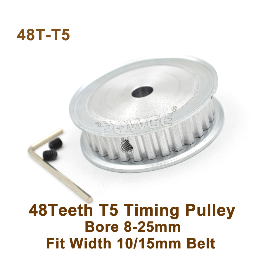 POWGE 48 Teeth T5 Timing Pulley Bore 8-25mm Fit W=10/15mm T5 Synchronous Belt 48T 48Teeth T5 Timing Belt Pulley 48-T5