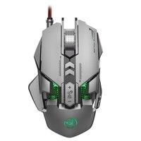 Hxsj j800 wired mecânico gaming mouse 6400 dpi led retroiluminação variável conforto gamer ratos para computador desktop portátil