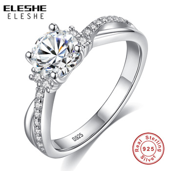 ELESHE Fashion Trendy 925 Sterling Silver Engagement Ring Pave CZ Crystal Finger Rings for Women Wedding Luxury Jewelry