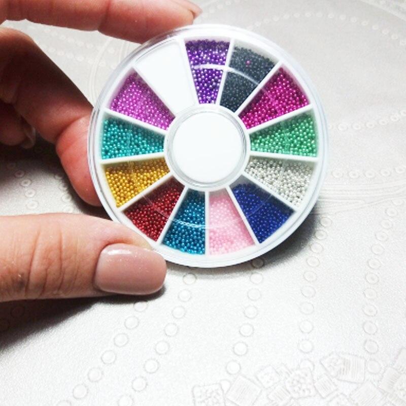 1 коробка, маникюрные бусины для дизайна ногтей, 12 цветов