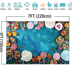 Image 5 - Laeacco Lollipop Candy Bar Dessert Donut Baby Birthday Photography Backdrops Customize Photographic Backgrounds For Photo Studio