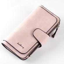 Billetera Baellerry de cuero de las mujeres de lujo tarjeta soporte embrague Casual mujeres carteras bolsillo con cremallera bolsillo Hasp cartera mujer bolso