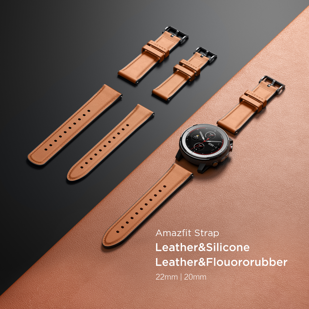 Amazfit Leather Silicone Leather Flouororubber Strap 20mm 22mm Original Accessories for Smartwatch