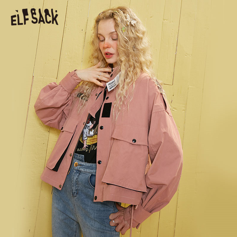 ELFSACK Pink Solid Single Button Letter Tape Oversize Women Jacket 2020 Spring Pocket Long Sleeve Casual Ladies Daily Outwears