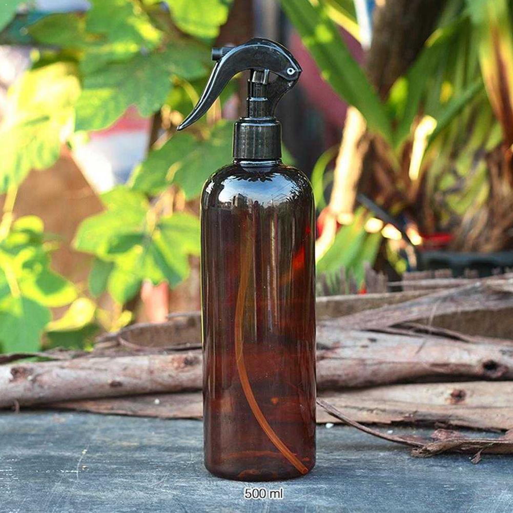 Большие пустые янтарные пластиковые бутылки 500 мл с распылителем для хранения, Очищающий продукт, черная масляная Крышка для пускового устр...