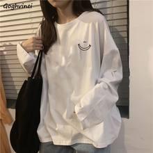 Camisetas de manga larga con estampado de primavera para mujer, ropa de calle holgada estilo coreano, combina con todo, Vintage, informal, Chic