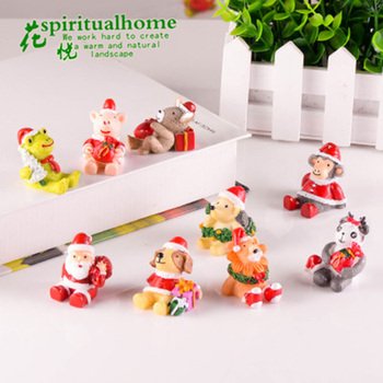 2020 Christmas Santa Claus Animals Bear Dog Resin Ornament Cute Miniature Micro Landscape Decoration for home Xmas Kids Gift 1PC image
