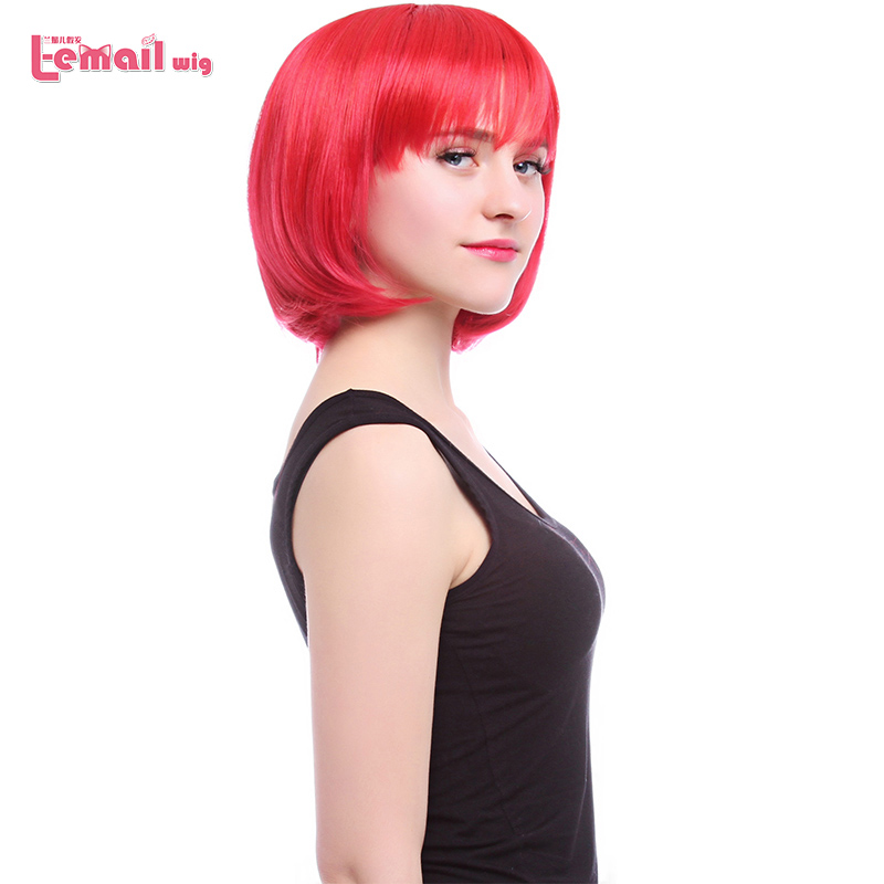 L-email Wig 12inch 30cm Short Bobo Cosplay Wigs 6 Colors Straight Pink Green Red Synthetic Hair Perucas Cosplay Wig