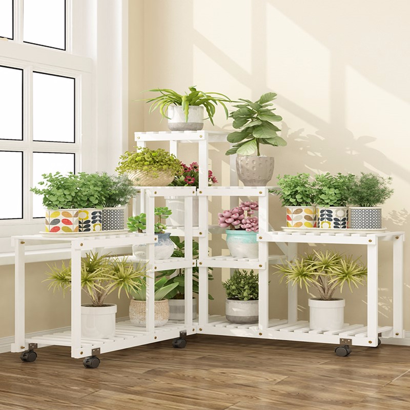 Indoor Multi-storey Province Space Anticorrosive Solid Wood Balcony A Living Room Landing Type Flowerpot Shelf