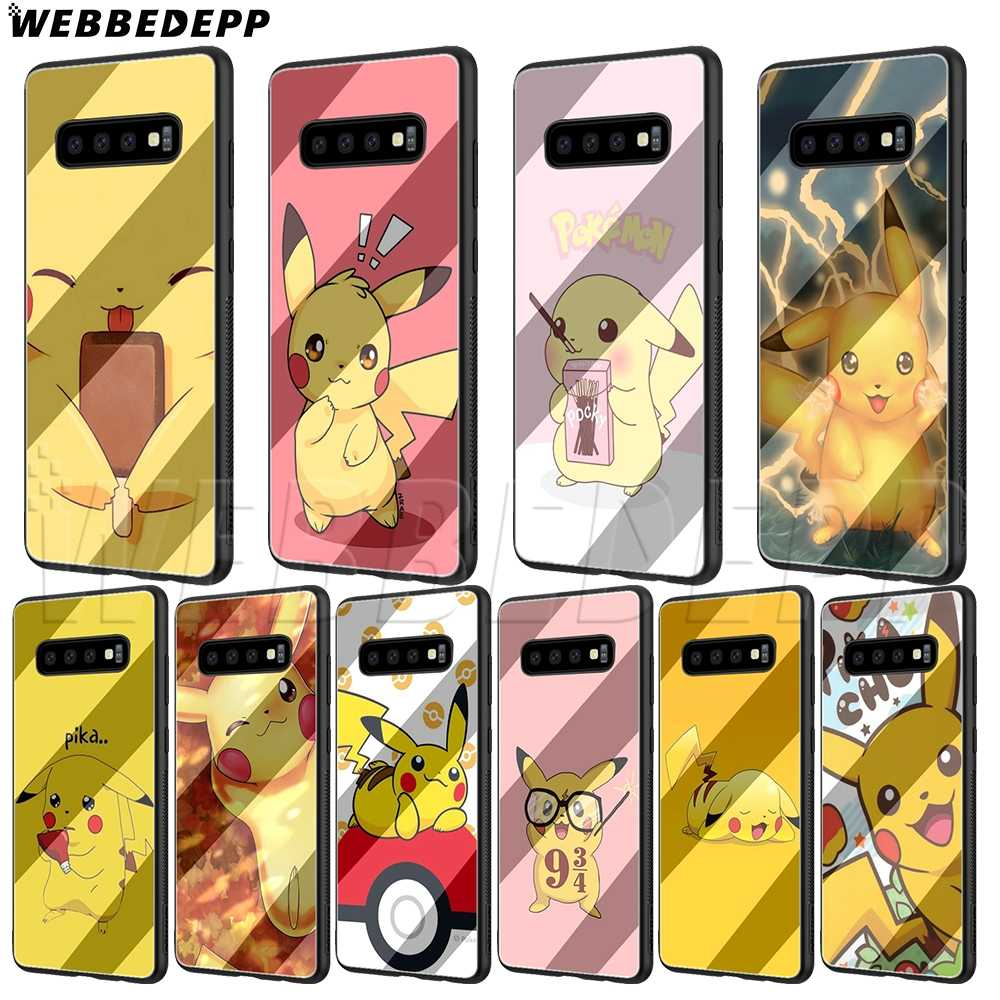 WEBBEDEPP Pikachu Glass Case for Samsung S7 S8 S9 S10 Note 8 9 Edge Plus A10 A20 A30 A50 A60 A70