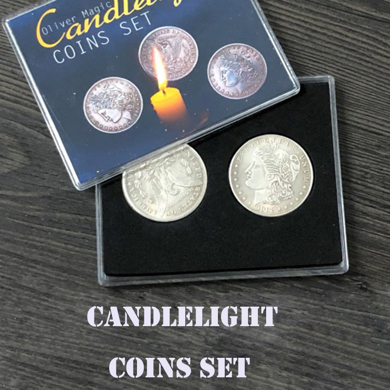 Candlelight Coins Set Magic Tricks  Morgan Coin Appear / Disappear Magia Magician Close Up Illusions Gimmick Props Mentalism Fun