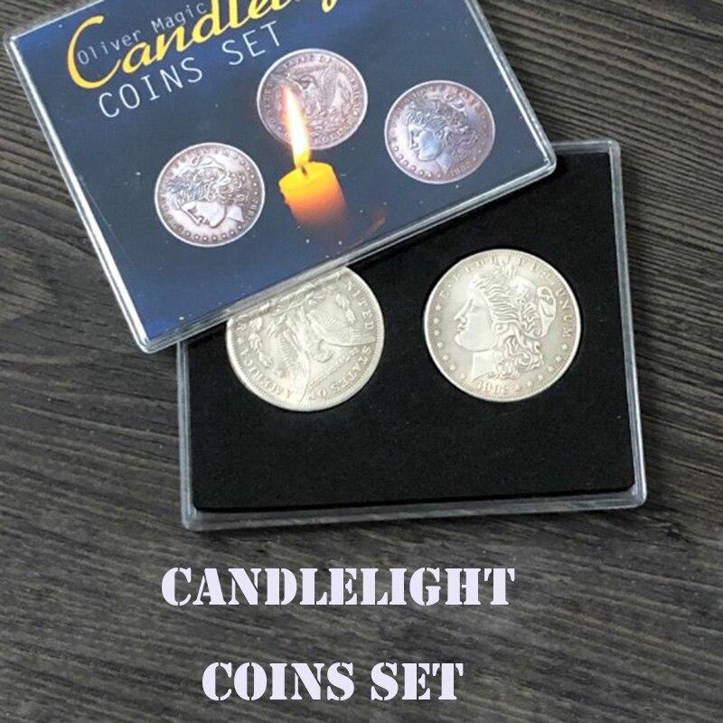 Candlelight Coins Set Magic Tricks  Morgan Coin Appear / Disappear Magia Magician Close Up Illusions Gimmick Props Mentalism Fun