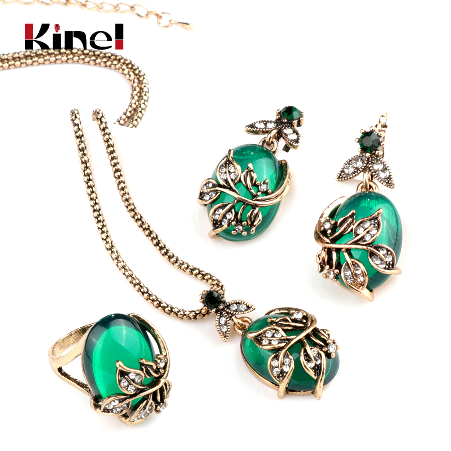 Kinel 3Pcs Green Oval Crystal Flower Jewelry Sets Antique Gold Vintage Ring Earring Pendant Necklace Wedding Jewelry For Women