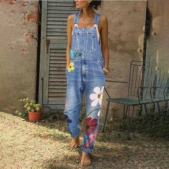 Women's floral denim jumpsuit, sleeveless denim jumpsuit, women's jumpsuit, winter-fall 2020, casual Street jumpsuit for women фото
