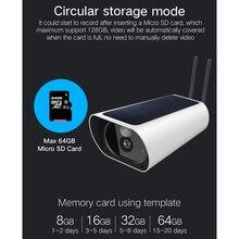 1080p câmera de segurança inteligente à prova dwaterproof água montagem na parede movido a energia solar wifi câmera gravador vídeo filmadora