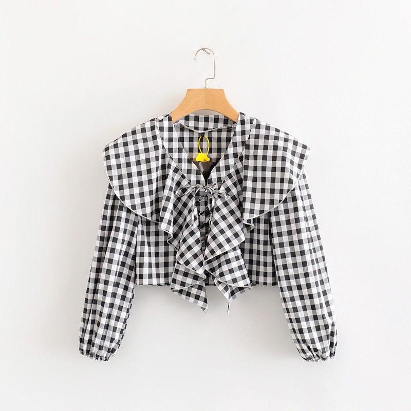 2020 Fashion Women V Neck Plaid Print Ruffles Short Blouses Shirts Women Long Sleeve Lace Up Chic Blusas Femininas Tops LS6316