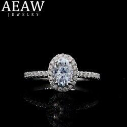 AEAW Diamant Moissanite Ring Solid 18K Rose Goud 5x7mm 0.1ct Oval Cut Moissanite Engagement Ring Unieke moissanit Trouwringen