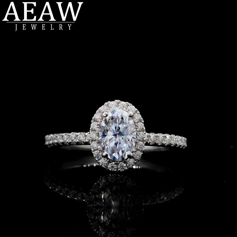 Bague Moissanite diamant AEAW solide 18K or Rose 5x7mm 0.1ct taille ovale bague de fiançailles Moissanite bagues de mariage Moissanit uniques