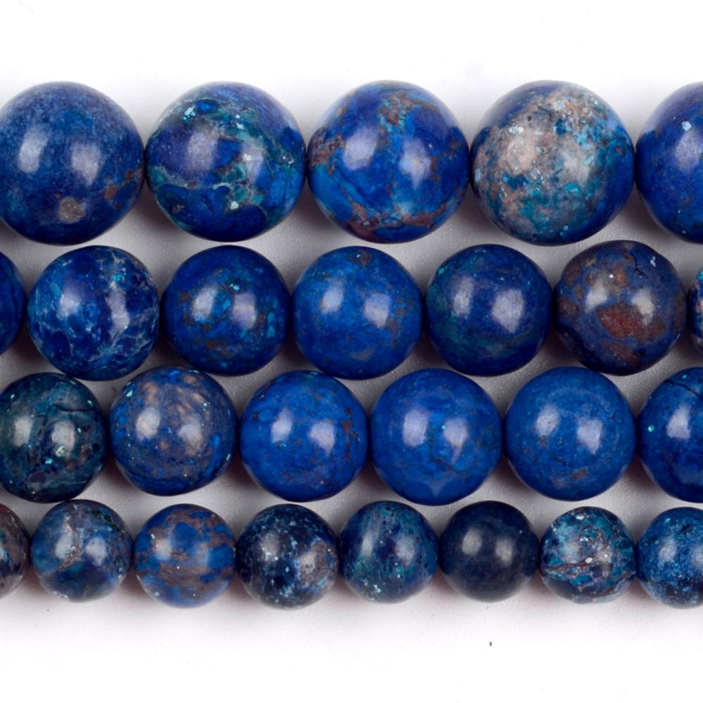 Natural Stone Royal Blue Sea Sediment Jaspers Beads Round Loose Spacer For Jewelry Making 6/8/10mm DIY Bracelet Necklace