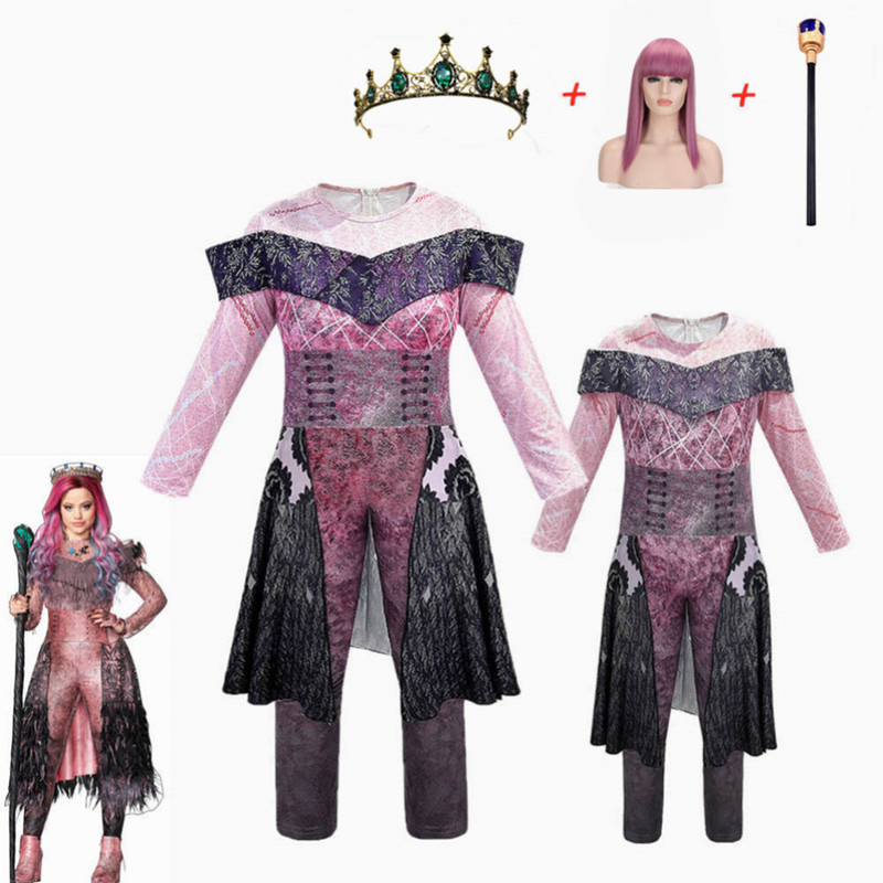 Girls/women Queen Of Mean Descendants 3 Mal & Evie Cosplay Audrey Costume Girls Halloween Party Clothing 3D Jumpsuits+wig+crown